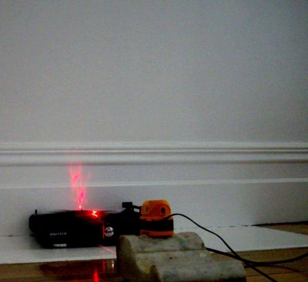 turntable, siver foil, laser